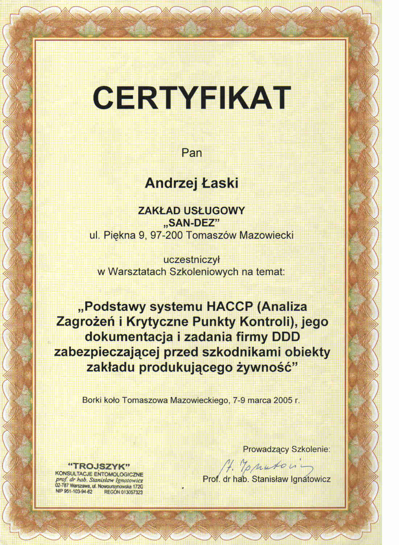 certyfikat - HACCP