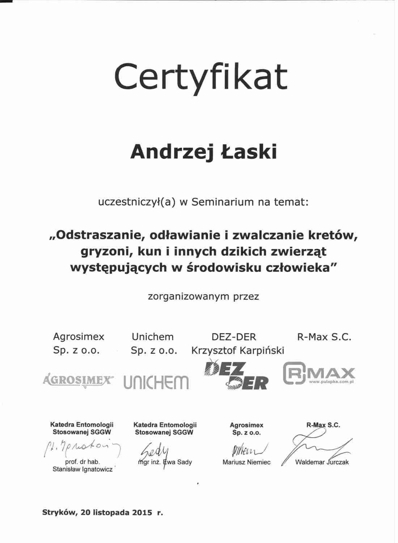 certyfikat - odstraszanie kretów, kun i innych gryzoni
