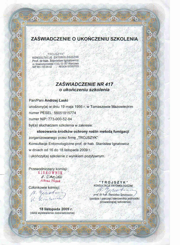 certyfikat - fumigacja