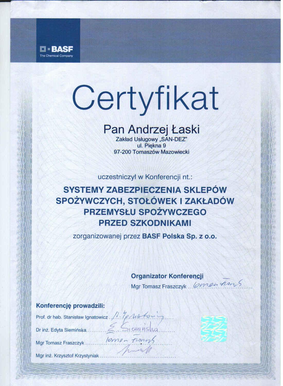 certyfikat - zabezpieczenie przemysłu spożywczego przed szkodnikami