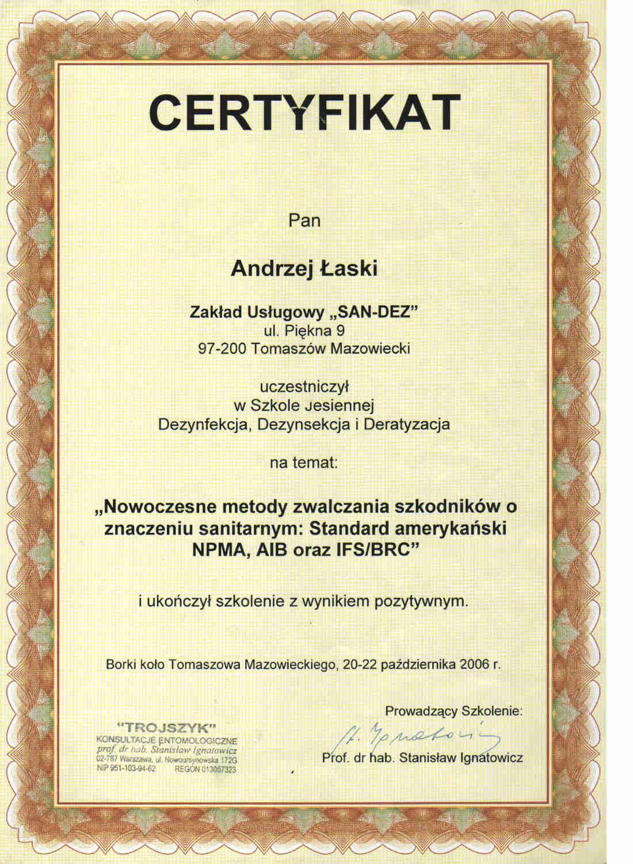 certyfikat - zwalczanie szkodników