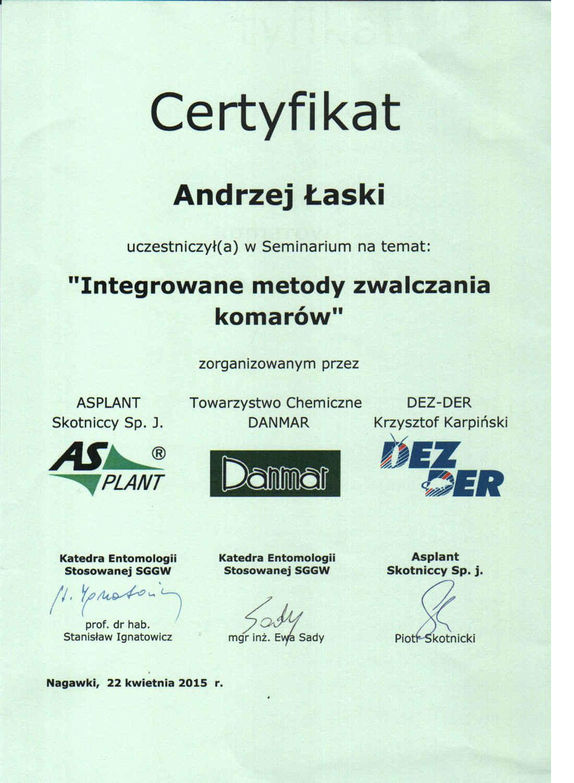 certyfikat - zwalczanie komarów