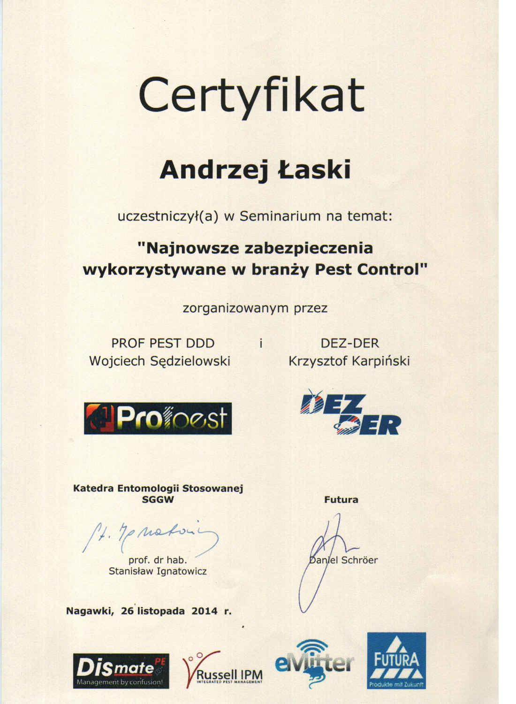 certyfikat - zabezpieczenia w branży pest control
